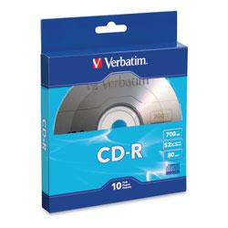 Verbatim CD-R Recordable Disc, 700MB, 52x, Silver, 10/Pack