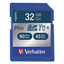 Verbatim 32GB Pro 600X SDHC Memory Card, UHS-I V30 U3 Class 10