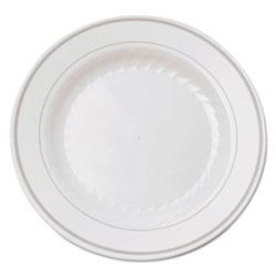 WNA Comet Masterpiece Plastic Plates, 6 in., White w/Silver Accents, Round, 120/Carton