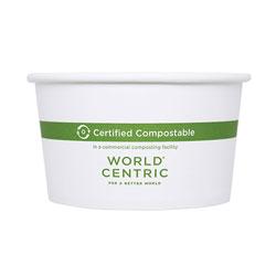 World Centric Paper Bowls, 4.5 in dia x 2.5 in, 12 oz, White, 500/Carton