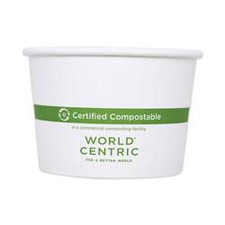 World Centric Paper Bowls, 3.5 in dia x 2.3 in, 8 oz, White, 1,000/Carton
