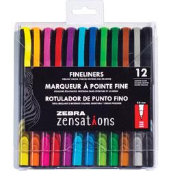 Zebra Fineliner Pens, Zensations, 0.8mm Point Tip, 12/ST, Assorted