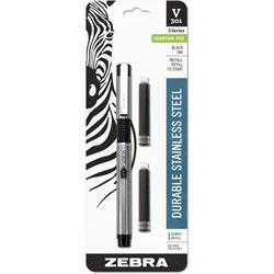 Zebra Pen Stainless Steel Fountain Pen, Med .7mm, Barrel SR/BK, Ink/BK