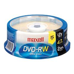 Maxell 4.7 GB Rewritable DVD-RW 15 Spindle