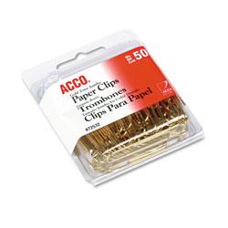 Acco Gold Tone Paper Clips, Jumbo, Gold Tone, 50/Box