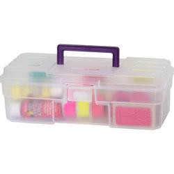 """Akro-Mills Supply Box, 6""""x12""""x4"""", Plastic, Clear/Purple"""