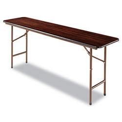 Alera Wood Folding Table, Rectangular, 71 7/8w x 17 3/4d x 29 1/8h, Mahogany