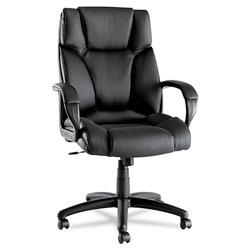 Alera Fraze Executive High-Back Swivel/Tilt Leather Chair, Supports up to 275 lbs, Black Seat/Black Back, Black Base