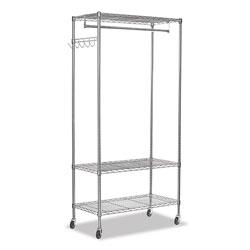 Alera Wire Shelving Garment Rack, 30 Garments, 36w x 18d x 75h, Silver