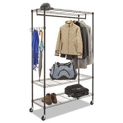 Alera Wire Shelving Garment Rack, 40 Garments, 48w x 18d x 75h, Black