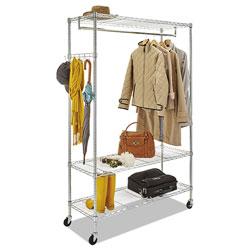 Alera Wire Shelving Garment Rack, 40 Garments, 48w x 18d x 75h, Silver