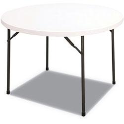 Alera Round Plastic Folding Table, 48 Dia x 29 1/4h, White