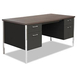 Alera Double Pedestal Steel Desk, Metal Desk, 60w x 30d x 29.5h, Mocha/Black