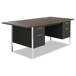 Alera Double Pedestal Steel Desk, Metal Desk, 72w x 36d x 29.5h, Mocha/Black