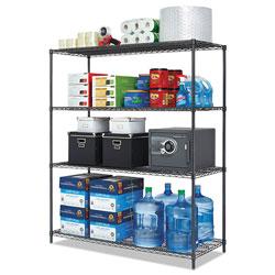 Alera All-Purpose Wire Shelving Starter Kit, 4-Shelf, 60 x 24 x 72, Black Anthracite Plus