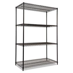 Alera NSF Certified Industrial 4-Shelf Wire Shelving Kit, 48w x 24d x 72h, Black