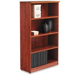 Alera Valencia Series Bookcase, Four-Shelf, 31 3/4w x 14d x 54 7/8h, Medium Cherry