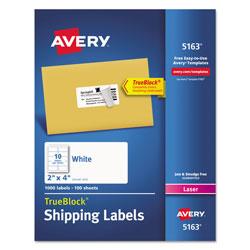 Avery Shipping Labels w/ TrueBlock Technology, Laser Printers, 2 x 4, White, 10/Sheet, 100 Sheets/Box
