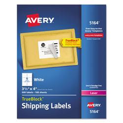 Avery Shipping Labels w/ TrueBlock Technology, Laser Printers, 3.33 x 4, White, 6/Sheet, 100 Sheets/Box