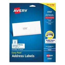 Avery Easy Peel White Address Labels w/ Sure Feed Technology, Inkjet Printers, 1 x 2.63, White, 30/Sheet, 25 Sheets/Pack