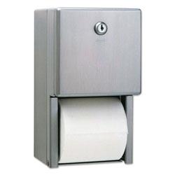 Bobrick Stainless Steel 2-Roll Tissue Dispenser, 6 1/16 x 5 15/16 x 11, Stainless Steel