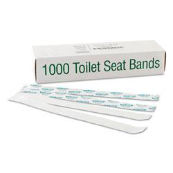 Bagcraft Sani/Shield Printed Toilet Seat Band, Paper, Blue/White, 16 in Wide x 1.5 in Deep, 1,000/Carton
