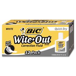 Bic Wite-Out Quick Dry Correction Fluid, 20 mL Bottle, White, 1/Dozen