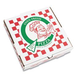 Pizza Box Corrugated Kraft Pizza Boxes, E-Flute, White/Red/Green, 12 in Pizza, 12 x 12 x 1.75, 50/Carton