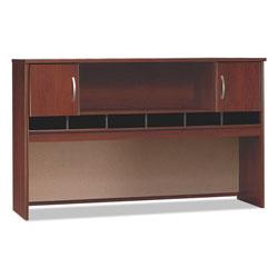 Bush Series C Collection 2 Door 72W Hutch, Box 1 of 2, 71.13w x 15.38d x 43.13h, Hansen Cherry/Graphite Gray
