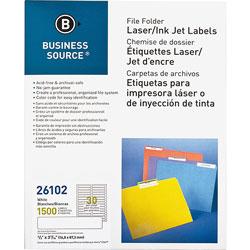 Business Source Label, File Folder, Laser/Inkjet, White