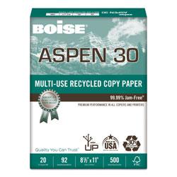 Boise ASPEN 30 Multi-Use Recycled Paper, 92 Bright, 20lb, 8.5 x 11, White, 500 Sheets/Ream, 10 Reams/Carton