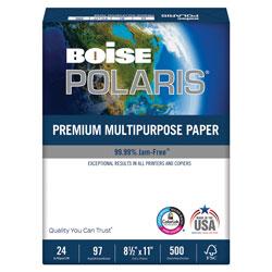 Boise POLARIS Premium Multipurpose Paper, 97 Bright, 24lb, 8.5 x 11, White, 500 Sheets/Ream, 10 Reams/Carton