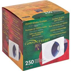 "Compucessory 26501 White CD/DVD Window Envelopes, 5"" x 5"""