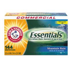Arm & Hammer® Essentials Dryer Sheets, Mountain Rain, 144 Sheets/Box