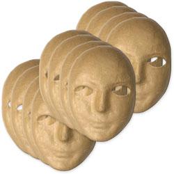Chenille Kraft Paper Mache Masks, Beige