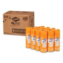 Clorox 4-in-One Disinfectant and Sanitizer, Citrus, 14 oz Aerosol, 12/Carton