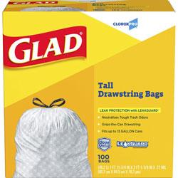 Glad Tall Kitchen Drawstring Trash Bags, 13 gal, 0.72 mil, 24 in x 27.38 in, Gray, 100/Box