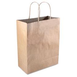 Cosco Premium Shopping Bag, 8 in x 10.25 in, Brown Kraft, 50/Box