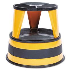 Cramer Industries Kik-Step Steel Step Stool, 2-Step, 350 lb Capacity, 16 in dia. x 14.25h, Orange