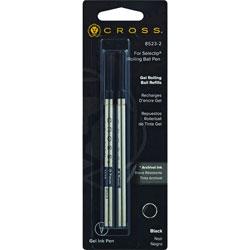 A.T. Cross Company Selectip Pen Rollerball Pen Refill, Medium, 2 Ct, Black