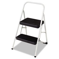 Cosco 2-Step Folding Steel Step Stool, 200 lb Capacity, 17.38w x 18d x 28.13h, Cool Gray
