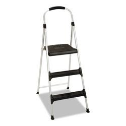 Cosco Aluminum Step Stool, 3-Step, 225 lb Capacity, 28.45 in Working Height, Platinum/Black