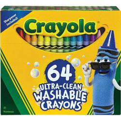 Crayola Washable Crayons, Assorted, 64/Set