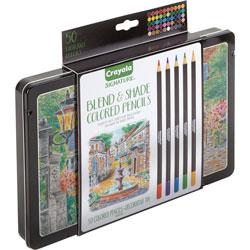 Crayola Pencils w/Storage Tin, Colored Lead, 50/CT, Assorted