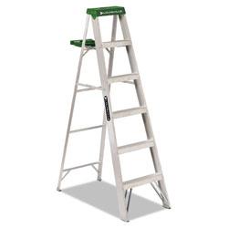 Louisville Ladder Aluminum Step Ladder, 6 ft Working Height, 225 lbs Capacity, 5 Step, Aluminum/Green