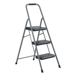 Louisville Ladder Black and Decker Steel Step Stool, 3-Step, 200 lb Capacity, Gray