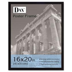 Dax Flat Face Wood Poster Frame, Clear Plastic Window, 16 x 20, Black Border