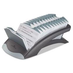 Durable TELINDEX Desk Address Card File, Holds 500 4 1/8 x 2 7/8 Cards, Graphite/Black