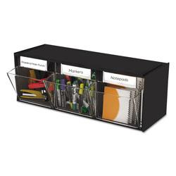 Deflecto Tilt Bin Interlocking 3-Bin Organizer, 23 5/8 x 7 3/4 x 9 1/2, Black/Clear