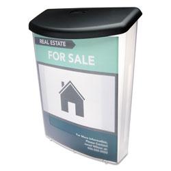 Deflecto Outdoor Literature Box, 10w x 4.5d x 13.13h, Clear/Black
